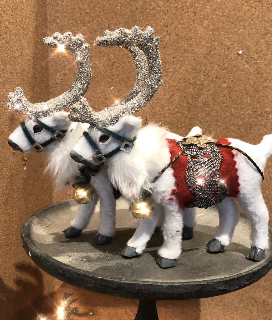 Snowy Reindeer Dressed in Vintage Trim