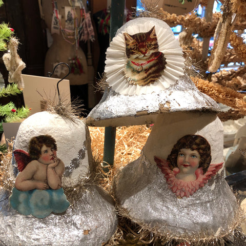Vintage Paper Mache Bells with Antique Trim & Die-Cut Images