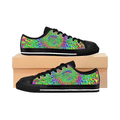 Reefer Madness Cannabis Leaf Men's Sneakers - Trippy,Men's Shoes, Alliteration Apparel Clothing and Accessories