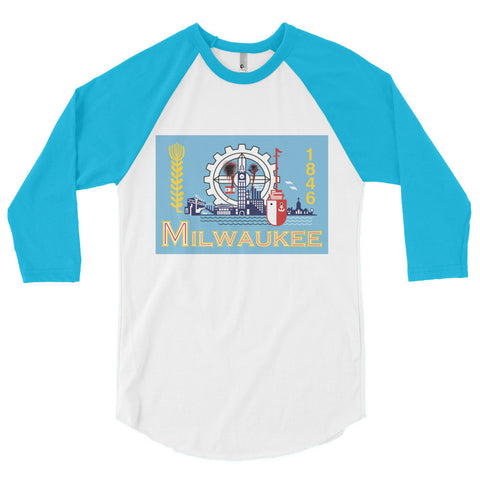 Milwaukee Flag Shot Unisex 3/4 sleeve raglan shirt,3/4 Sleeve, Alliteration Apparel Clothing and Accessories