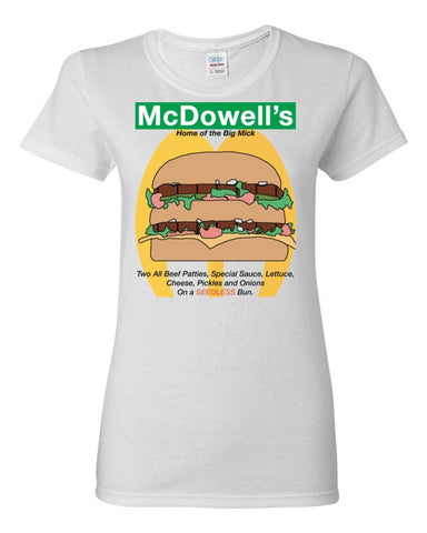 McDowells Home of The Big Mick Women's T-shirt (Coming to America),Women's T-Shirts, Alliteration Apparel Clothing and Accessories