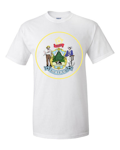$tate Seal of Maine Men's Unisex Short sleeve t-shirt,Men's / Unisex T-Shirts, Alliteration Apparel Clothing and Accessories