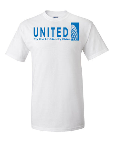 United Airlines Fly The Unfriendly Skies Men's Unisex Short sleeve t-shirt,Men's / Unisex T-Shirts, Alliteration Apparel Clothing and Accessories