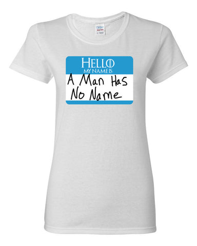 A Man Has No Name Tag (Blue) Women's short sleeve t-shirt,Women's T-Shirts, Alliteration Apparel Clothing and Accessories