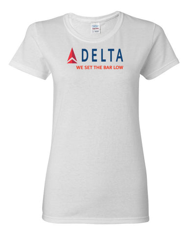 Delta We Set The Bar Low Women's short sleeve t-shirt,Women's T-Shirts, Alliteration Apparel Clothing and Accessories
