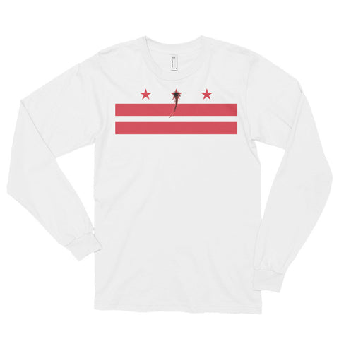 Washington D.C Flag Shot Unisex Long sleeve t-shirt,Long Sleeve, Alliteration Apparel Clothing and Accessories