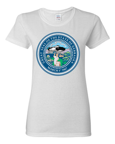 $tate Seal of Nebraska Women's short sleeve t-shirt,Women's T-Shirts, Alliteration Apparel Clothing and Accessories