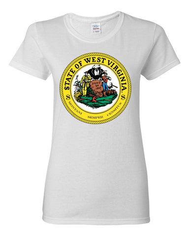 $tate Seal of West Virginia Women's short sleeve t-shirt,Women's T-Shirts, Alliteration Apparel Clothing and Accessories