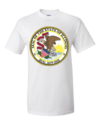 $tate Seal of Illinois Men's Unisex Short sleeve t-shirt,Men's / Unisex T-Shirts, Alliteration Apparel Clothing and Accessories