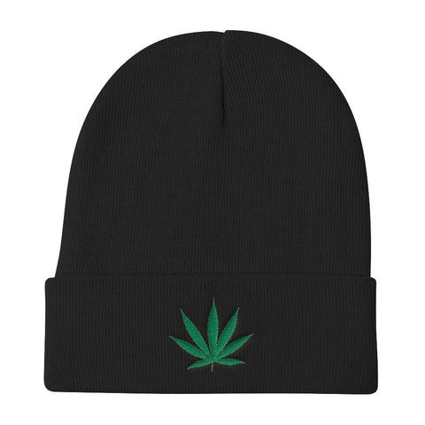 Cannabis Leaf Knit Beanie,Hats / Headwear, Alliteration Apparel Clothing and Accessories