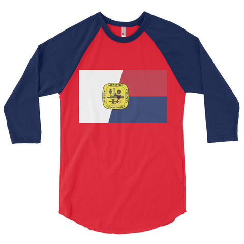 Memphis Flag Shot Unisex 3/4 sleeve raglan shirt,3/4 Sleeve, Alliteration Apparel Clothing and Accessories