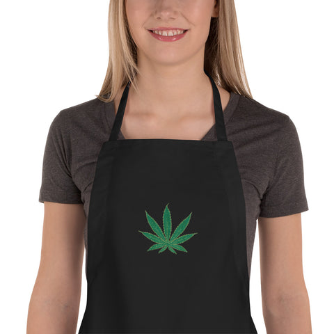 Cannabis Leaf Embroidered Apron,Apron, Alliteration Apparel Clothing and Accessories