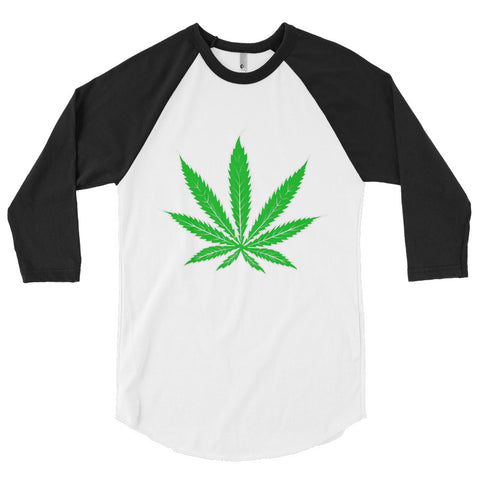 Cannabis Leaf Unisex 3/4 sleeve raglan shirt,3/4 Sleeve, Alliteration Apparel Clothing and Accessories