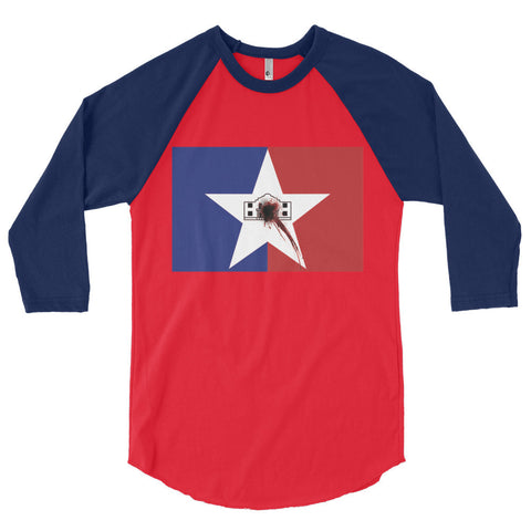 San Antonio Flag Shot Unisex 3/4 sleeve raglan shirt,3/4 Sleeve, Alliteration Apparel Clothing and Accessories