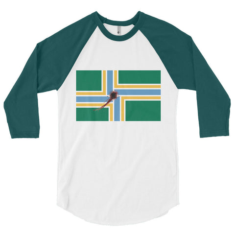 Portland Flag Shot Unisex 3/4 sleeve raglan shirt,3/4 Sleeve, Alliteration Apparel Clothing and Accessories