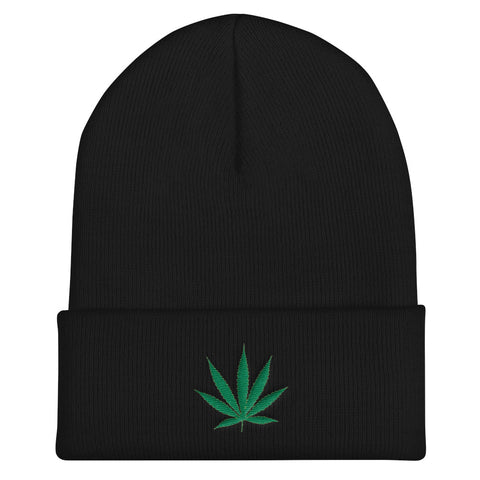 Cannabis Leaf Cuffed Beanie,Hats / Headwear, Alliteration Apparel Clothing and Accessories