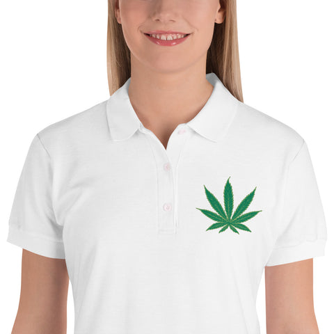 Cannabis Leaf Embroidered Women's Polo Shirt,Women's T-Shirts, Alliteration Apparel Clothing and Accessories