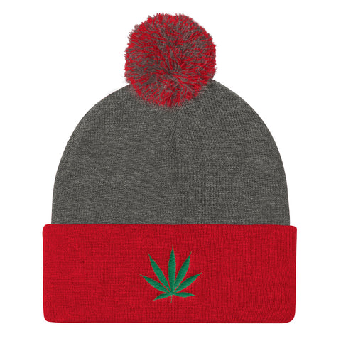 Cannabis Leaf Pom Pom Knit Cap,Hats / Headwear, Alliteration Apparel Clothing and Accessories