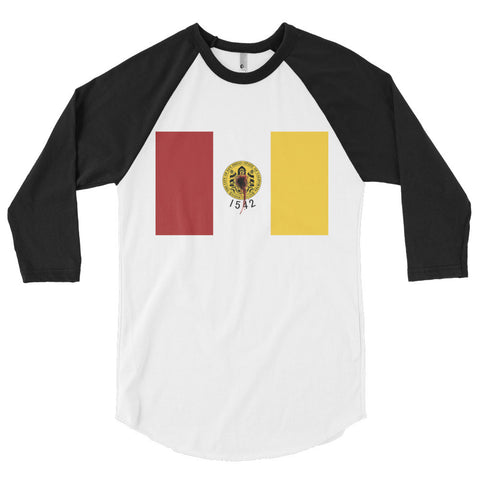 San Diego Flag Shot Unisex 3/4 sleeve raglan shirt,3/4 Sleeve, Alliteration Apparel Clothing and Accessories