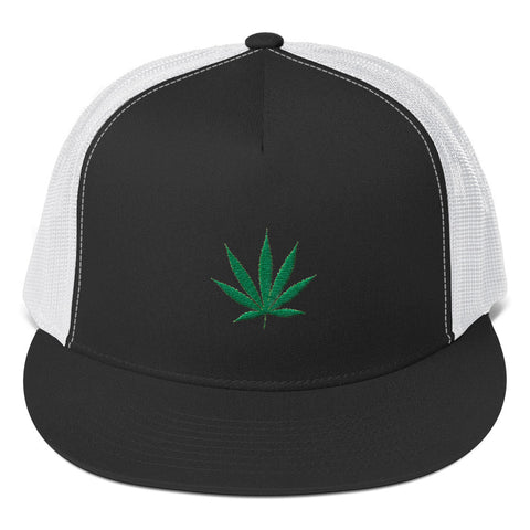 Cannabis Leaf Trucker Cap,Hats / Headwear, Alliteration Apparel Clothing and Accessories