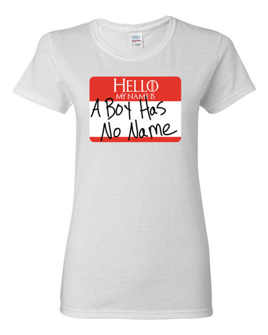 A Boy Has No Name Tag (Red) Women's short sleeve t-shirt,Women's T-Shirts, Alliteration Apparel Clothing and Accessories
