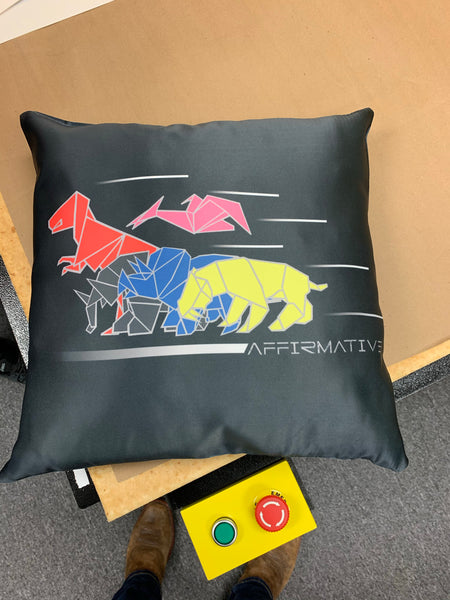 Double sided Dinogami/ Triceratops Pillow