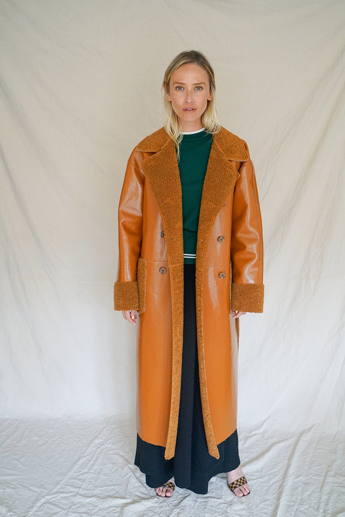 PATENT SHEARLING COAT W TAGS