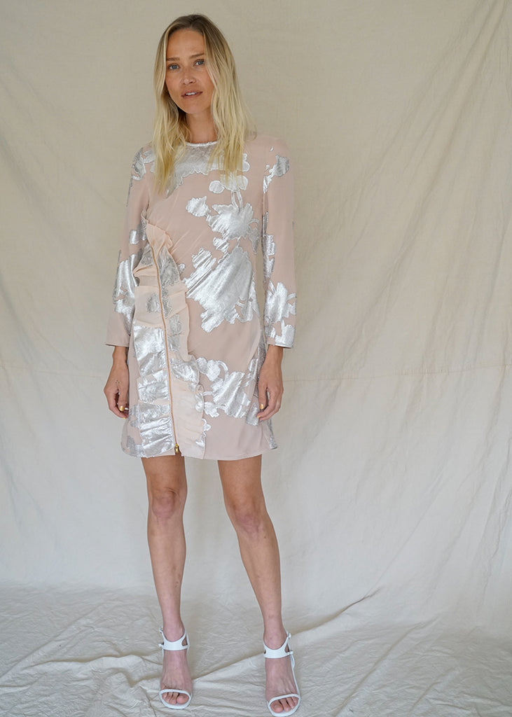 FLORAL METALLIC DRESS