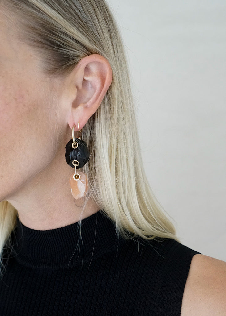 DOUBLE STONE EARRING