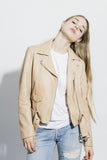 BLUSH PINK LEATHER MOTO JACKET