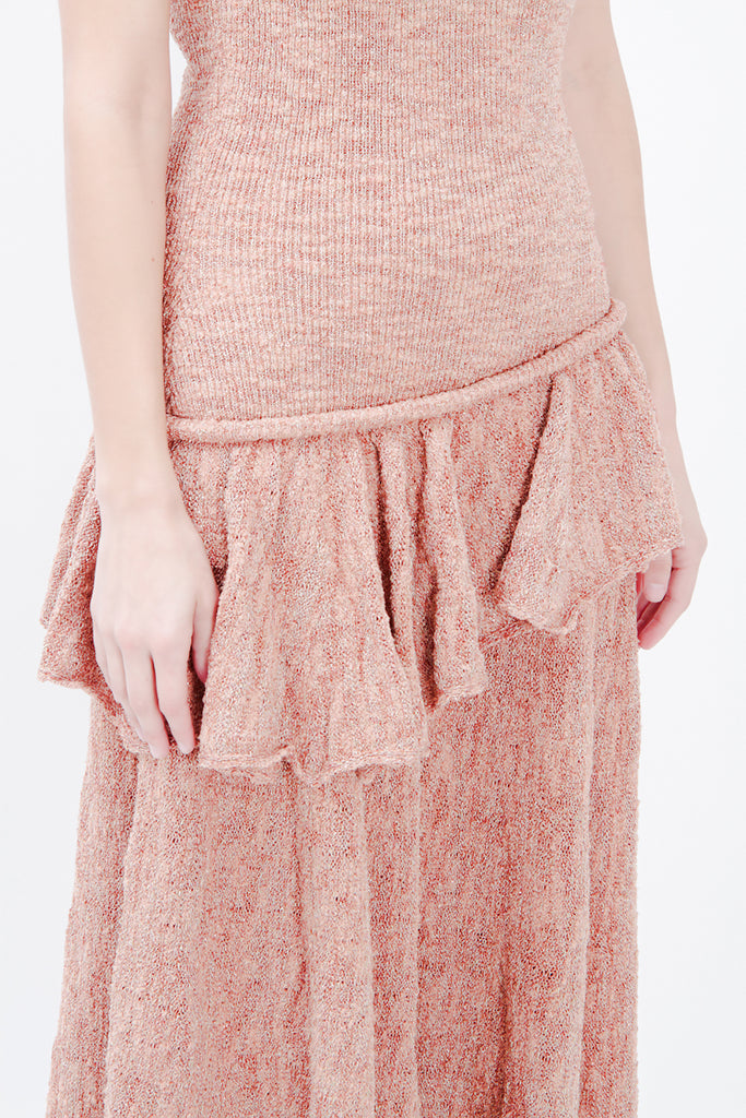 KNIT RUFFLED MIDI DRESS