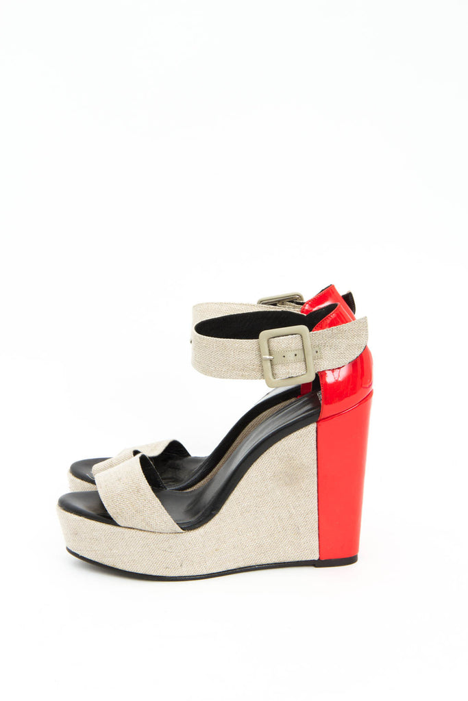 CANVAS PATENT WEDGES