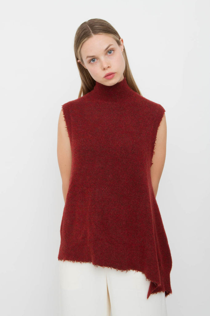 BRICK BELTED WOOL SWEATER