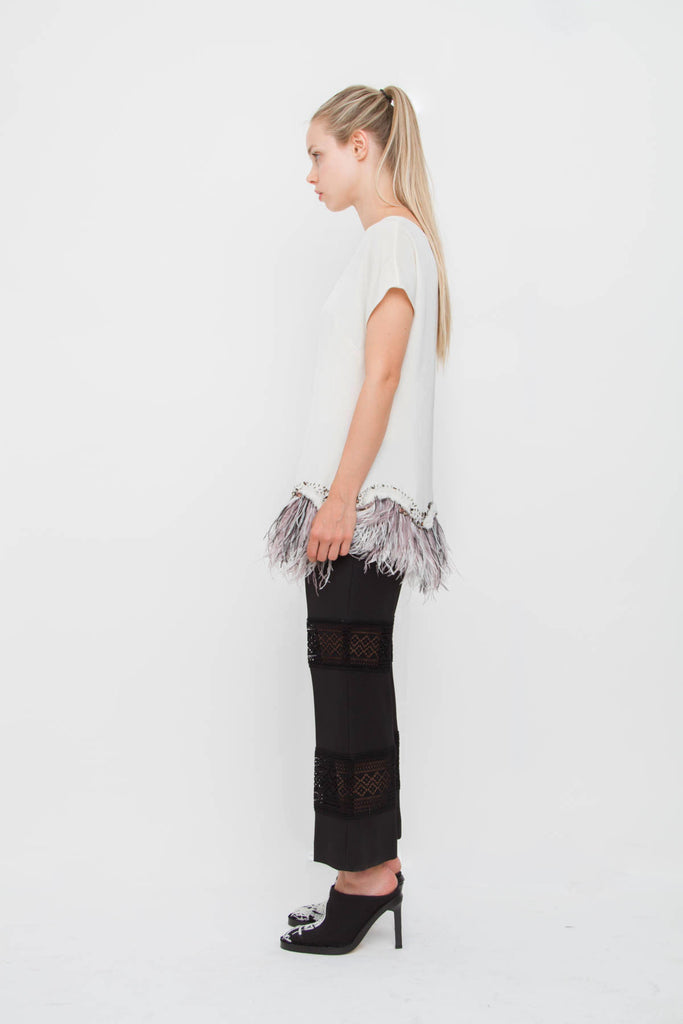 LACE INSET TROUSERS