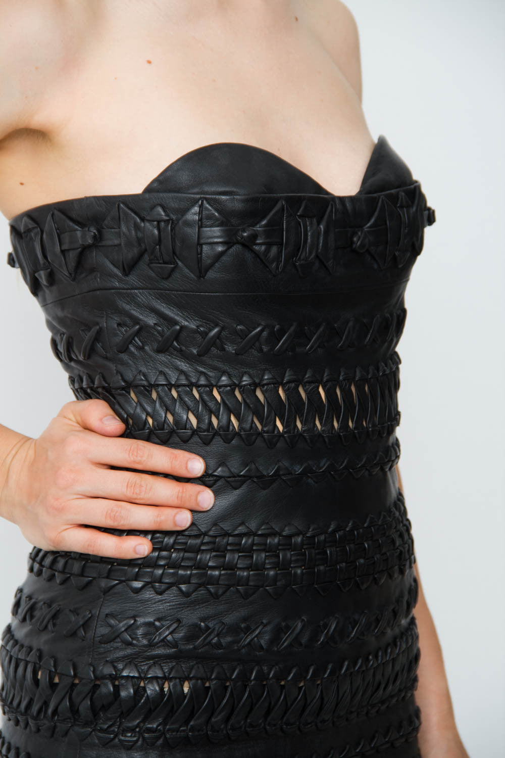 BRAIDED LEATHER DRESS