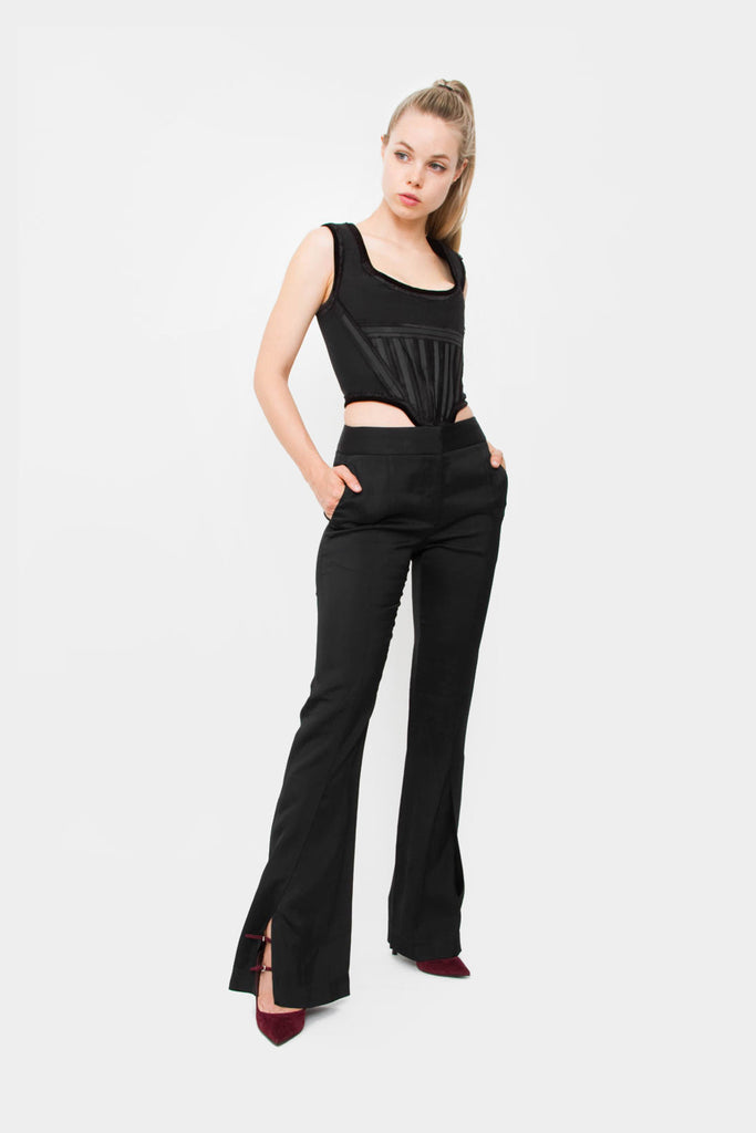 SLIT FLARE TROUSERS