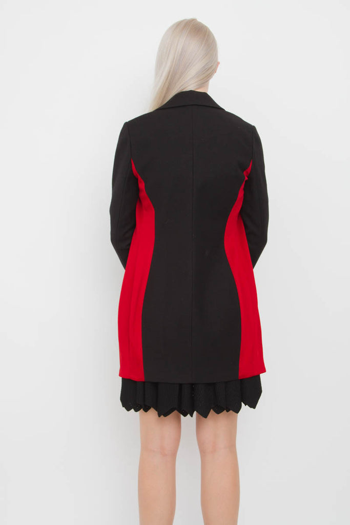 CONTRAST PANEL DRESS COAT