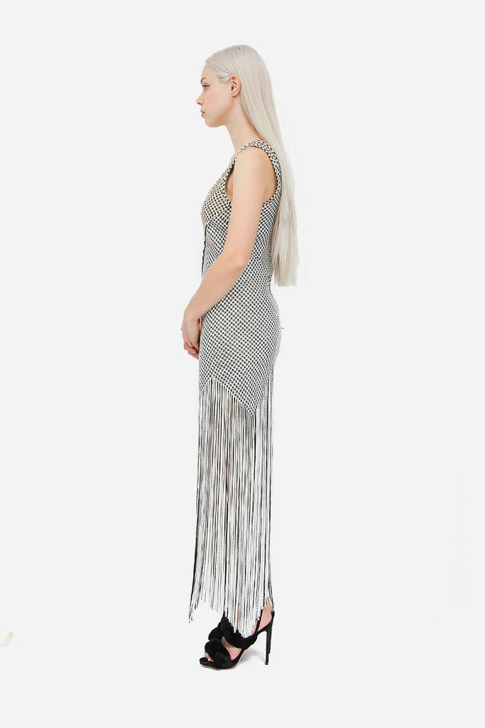FRINGE BASKETWEAVE DRESS