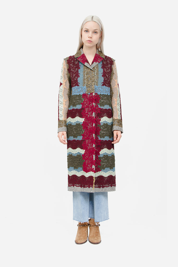PATCHWORK FELT WOOL COAT