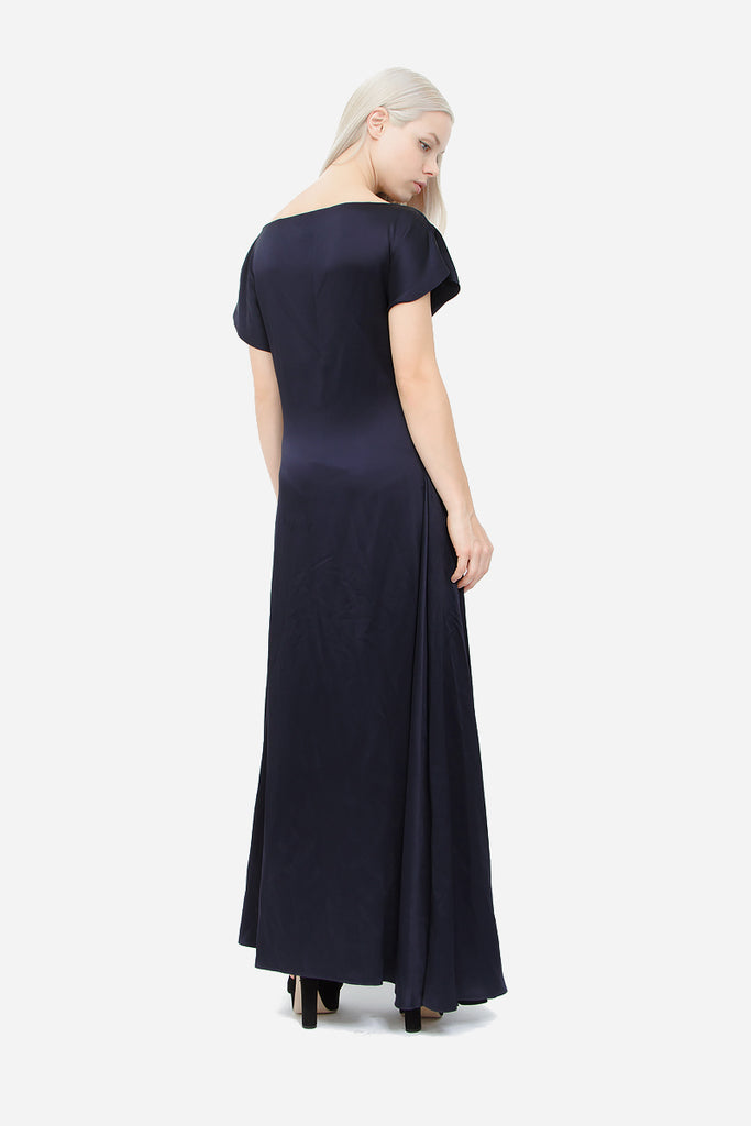 NAVY SATIN GOWN