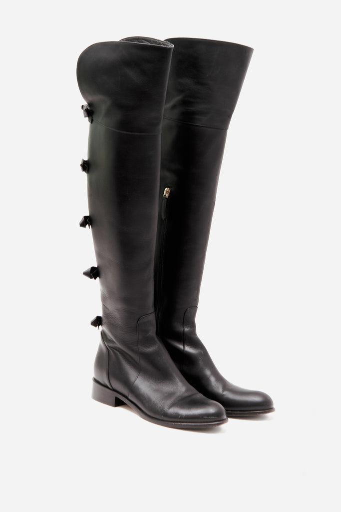OVER THE KNEE BOW BOOTS
