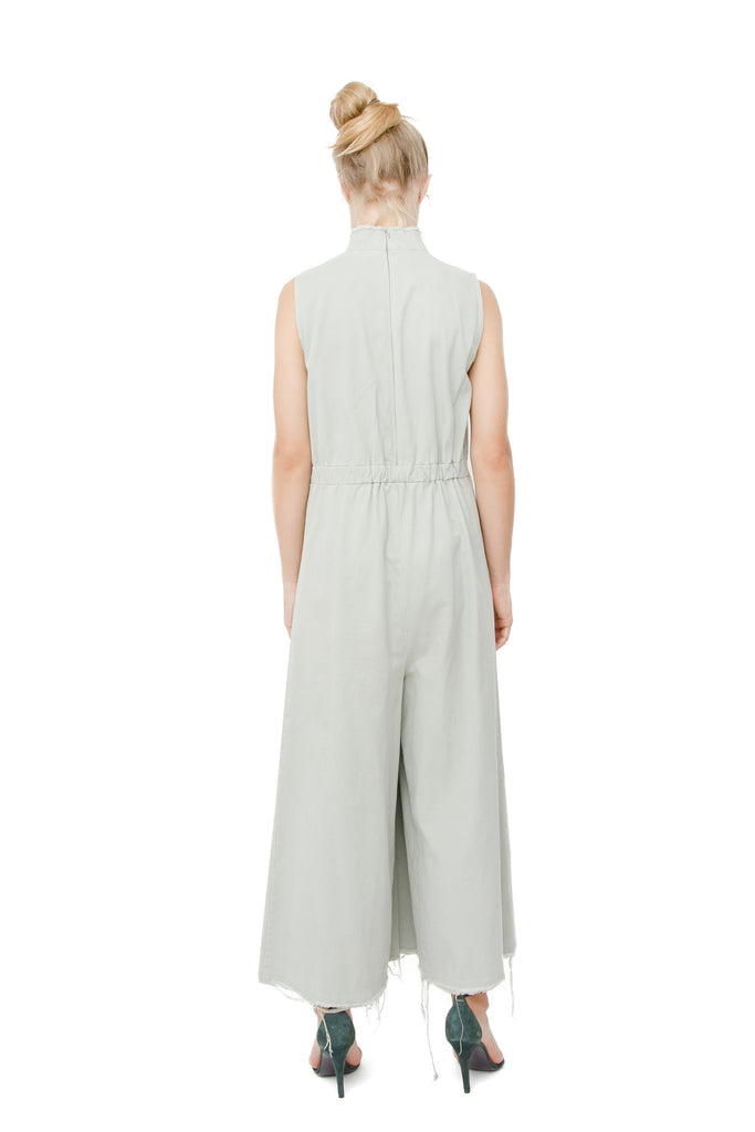 PASTEL GREEN FRAYED JUMPSUIT
