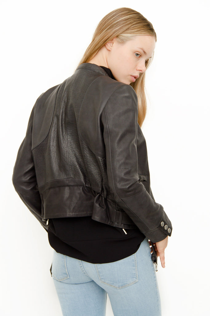 GANGSTER NAVY LEATHER JACKET