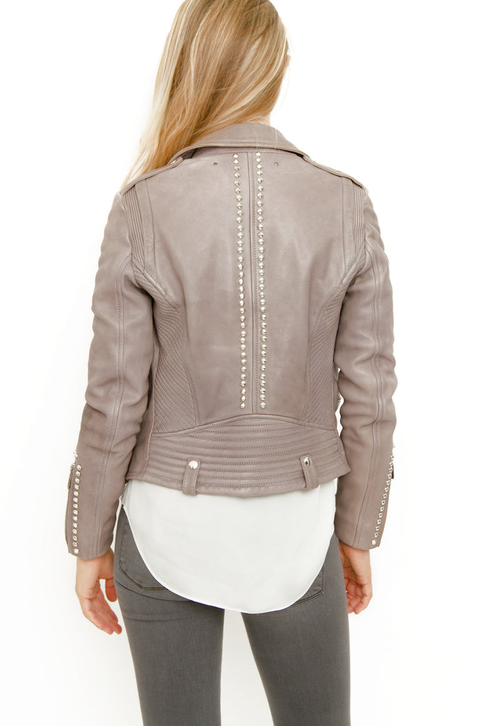 STUDDED GRAY LEATHER JACKET