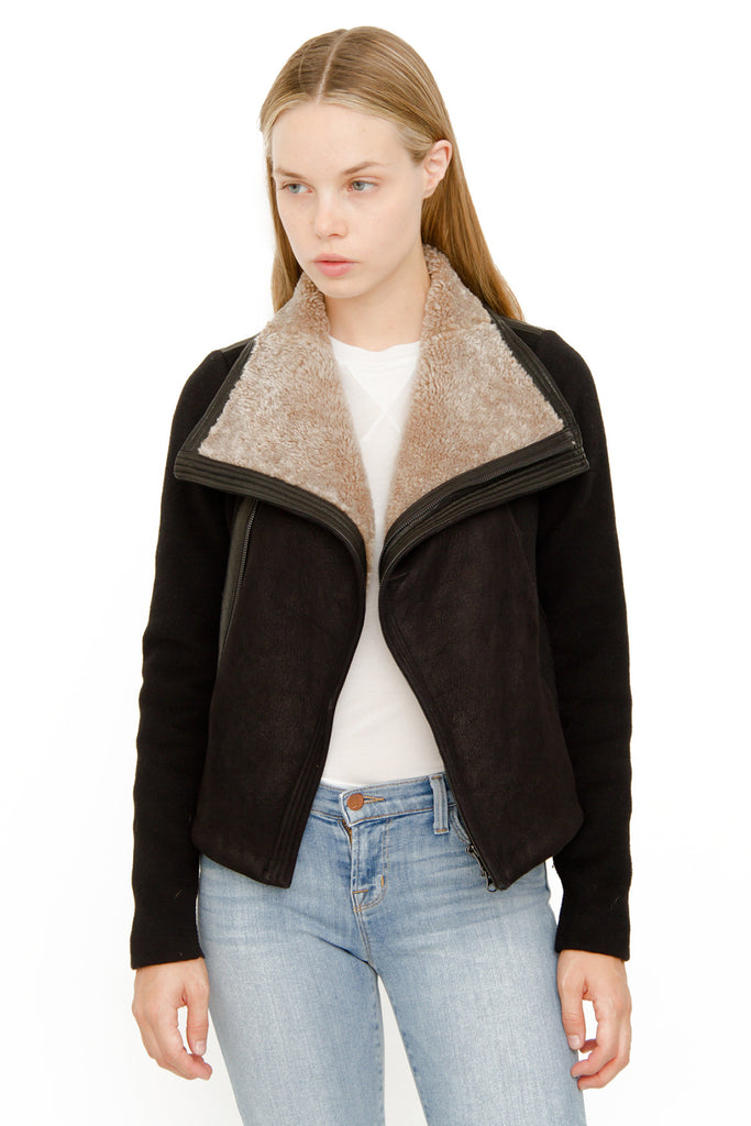 SHEARLING LEATHER MOTO JACKET