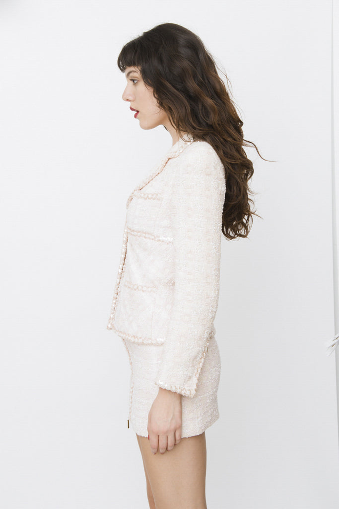 PINK TWEED SKIRT SUIT