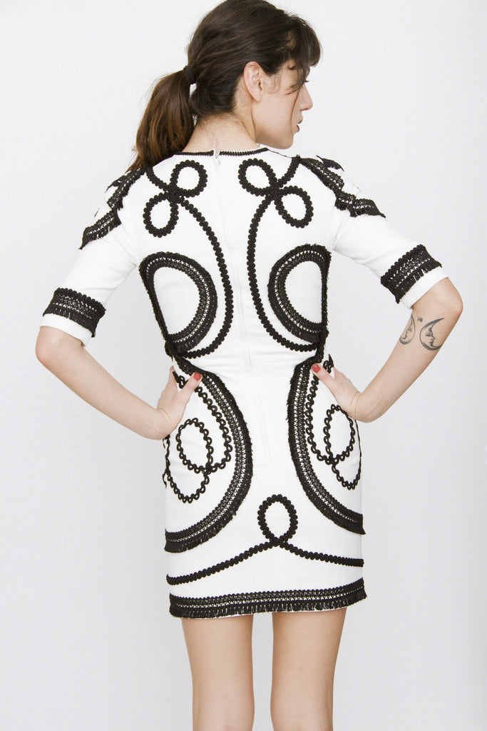 SHORT SCROLL EMBROIDERED DRESS