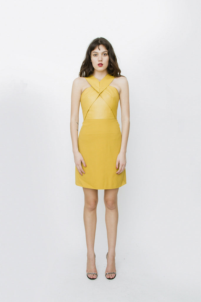 MUSTARD YELLOW LEATHER SILK DRESS