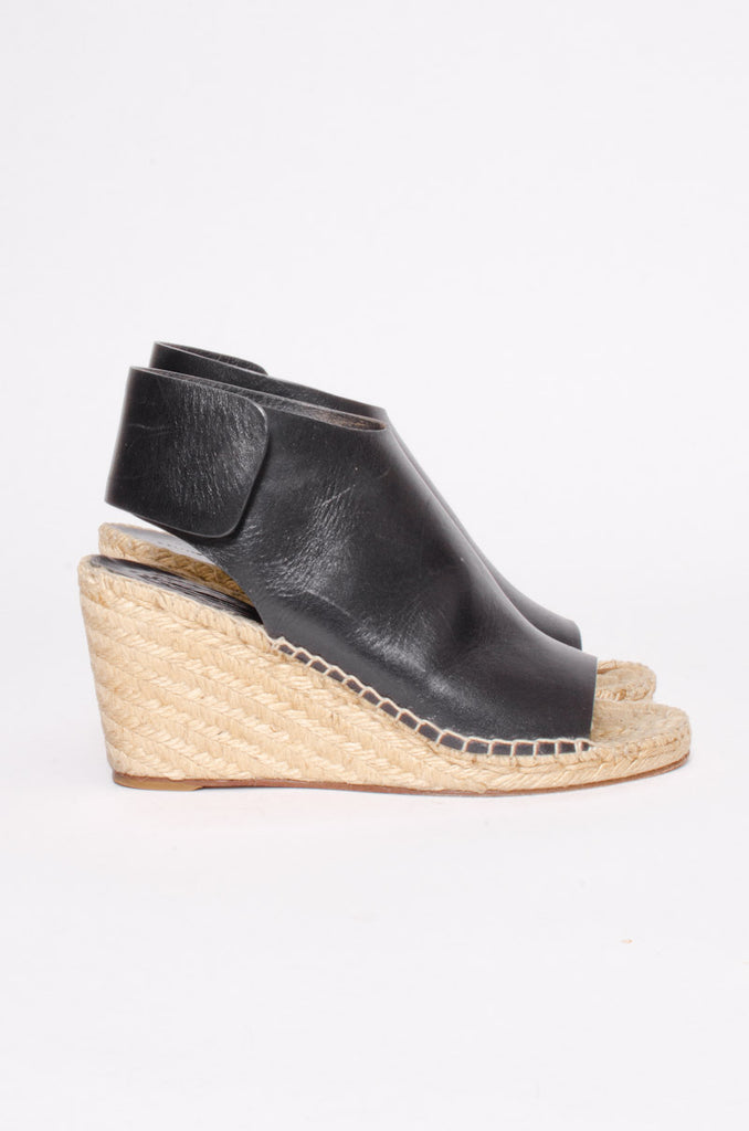 LEATHER ESPADRILLE WEDGE