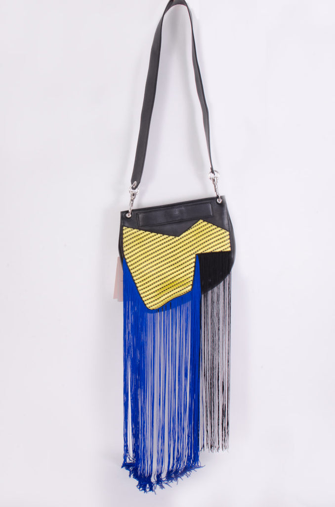 FRINGE LEATHER PURSE WITH TAGS